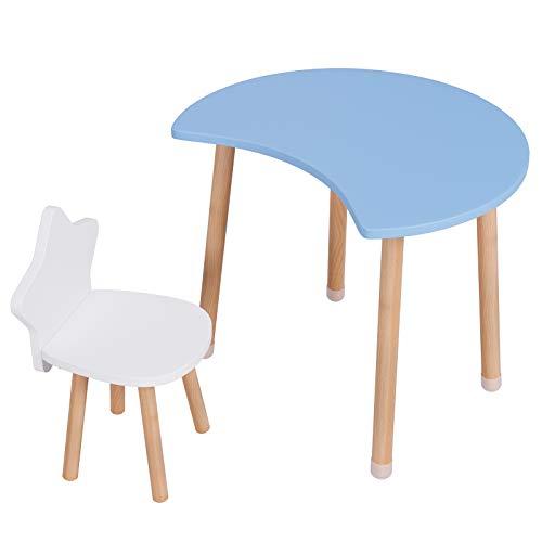 Homfa Set Tavolo e Sedia Bambini Multifunzionale Tavolo da Pittura Scrivania per Bambini Tavolo da Gioco in Legno Mobili Bambini Tavoli e sedie del Fumetto (Blu)