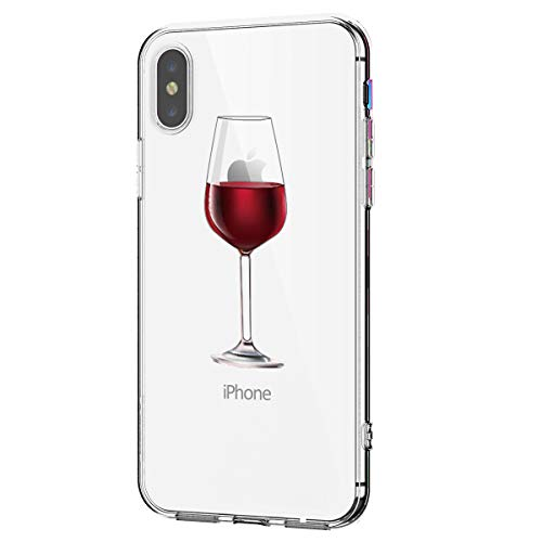 Alsoar kompatibel/ersatz für iPhone XR Hülle,Transparent Silikon Schutzhülle für iPhone XR,Crystal Clear Durchsichtige TPU Anti-Schock Anti-Scratch iPhone XR Handyhülle (Weinglas)