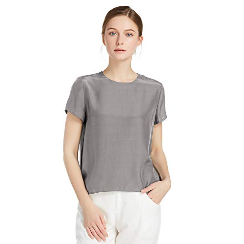 LilySilk Silk Blouses for Women Short Sleeve 100 Pure Mulberry 22 Momme Ladies Silk Tops Button Slit Back Closure (Dark Grey, M/8-10)