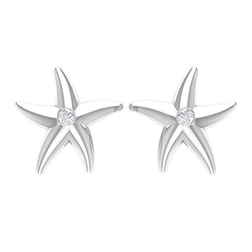 Pendientes de estrella de mar para mujer con diamante, 10K Oro blanco, Par