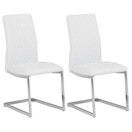 IDIMEX Schwingstuhl Dora, Freischwinger Stuhl Esszimmer Stühle Küchen Polster, modernes Design im 2er Pack in weiß