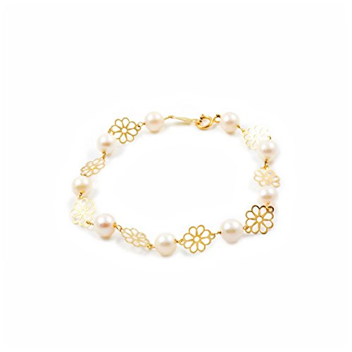 Pulsera Niña oro flor 8 petalos con perlas