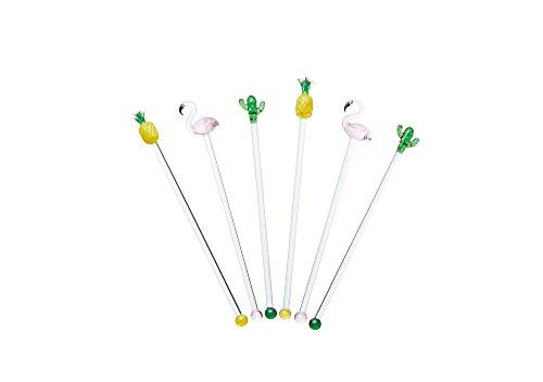 BarCraft, Cocktail-Rührer aus Glas im Tropischen Stil, Lustiges Wiederverwendbares Getränkezubehör zur Verzierung von Gläsern auf Partys, mit Kaktus-, Flamingo- und Ananasmotiv (6-Teiliges Set)