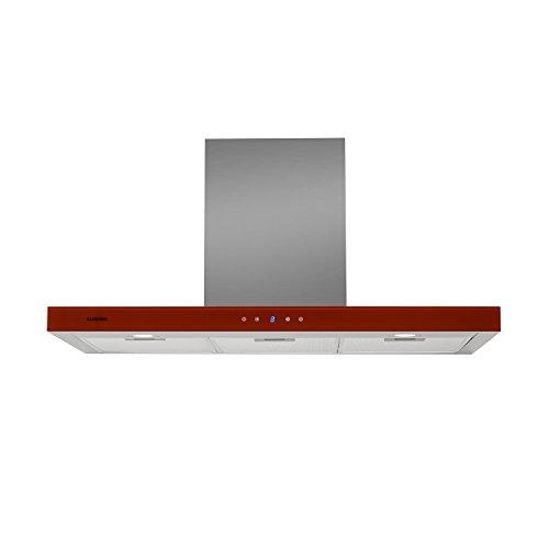 Klarstein Bon Vivant - Campana extractora , Capacidad de absorción de 650 m³/h, 230 W de Potencia, silencioso, Panel de Control táctil, 3 Niveles de Intensidad, montado en Pared , Rojo