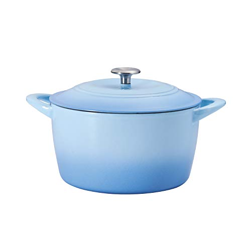 Tramontina 7 Qt Enameled Cast Iron Covered Tall Round Dutch Oven (Artic Blue) - 80131/362DS