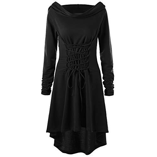 Xmiral Damen kostüme schnüren Sich Oben mit Kapuze Vintage Pullover high Low Bandage langes Kleid Mantel(2XL,Schwarz)