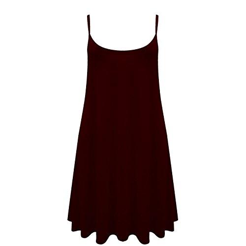 Damen Leibchen Swing Glockiges Kleid Damen Weste Einfarbig Ärmellos Top Plus Größe Skater - Wein, Damen, XL/2XL (48-50)