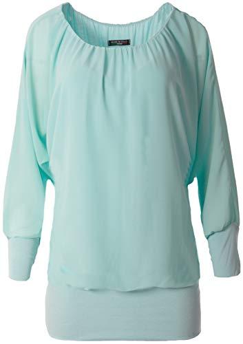 FASHION YOU WANT Damen Oversize Oberteile Tshirt/Pullover Uni Übergrößen Shirt Langarm (türkis, 46/48)