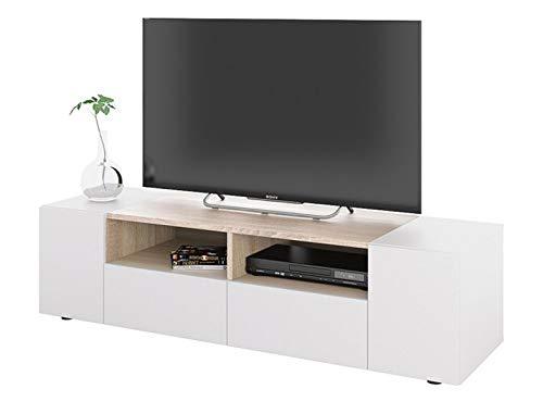 PEGANE Meuble TV décor Blanc et chêne - Dim : L 138 x P 42 x H 34 cm