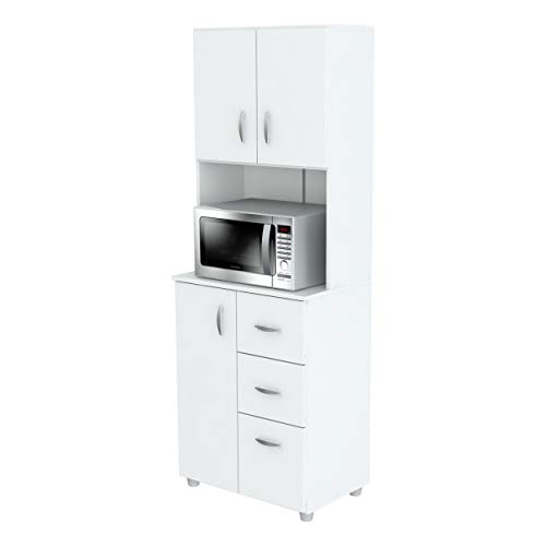 Inval Kitchen Microwave Storage Cabinet, White