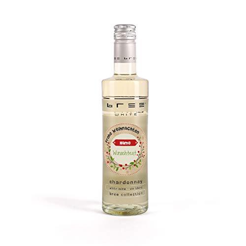 Herz & Heim® Bree Wein in Miniformat (1 x 0.25 l) mit einem für Sie bedruckten Etikett - Weinflasche zum Weihnachtsfest Weißwein