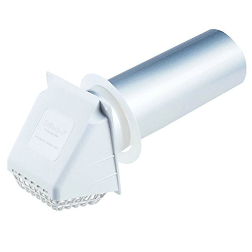 Deflecto Dryer Vent Hood, Wide Mouth, 4', White (RVHAW4)