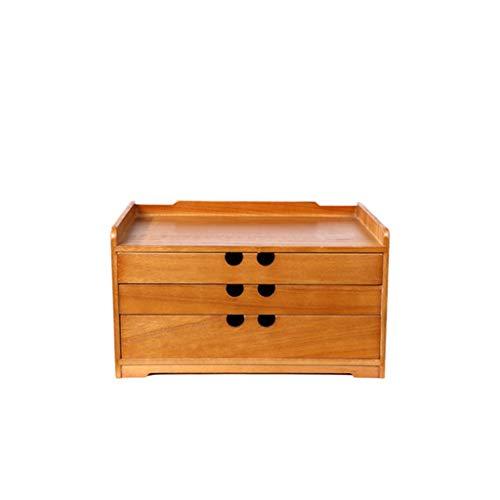 ZCX Sólido Oficina de madera artículos de escritorio del archivo Gabinete de almacenamiento Caja de almacenamiento de escritorio cajón de la mesa pequeña caja de madera de revestimiento Cajas de joyer ⭐
