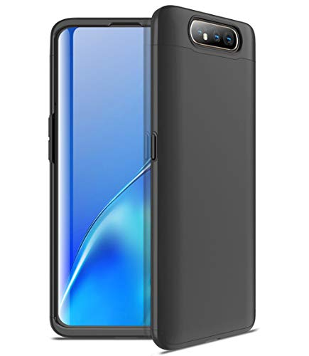 ZSCHAO Für Samsung Galaxy A80 360 Grad Hülle Ultra Slim Dünn stossfest Stoßfest +Panzerglas Handyhülle Samsung Galaxy A80 Hülle Full Case Cover Matt Hard Case Hart Armor 3 in 1 Schutzhülle Schwarz