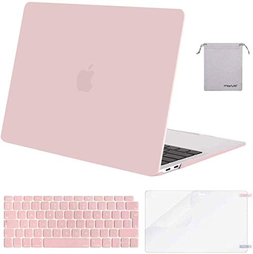 MOSISO MacBook Air 13 inch Case 2020 2019 2018 A2337 M1 A2179 A1932, Plastic Hard Shell&Keyboard Cover&Screen Protector&Storage Bag Compatible with MacBook Air 13 inch Retina, Rose Quartz