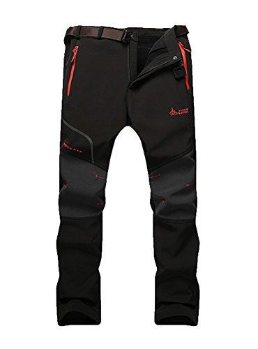 MorryOddy Men's Outdoor Waterproof Softshell Fleece Snow Pants Black 34
