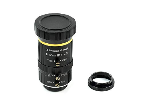Waveshare Quality Industrial Zoom Lens 8-50mm Adjustable Focal Length with Adjustable Angle of View C-Mount Compatible with Raspberry Pi Camera