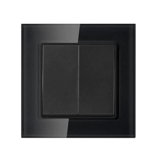 Interruptor de luz de la UE 2GANG 1WAY 16A 250V Panel de vidrio templado de cristal blanco 82mm * interruptor de pared 82mm-negro_110-250v