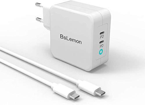 Cargador PD 100 W con GaN Tech, 2 puertos 45 W USB C cargador con alimentación compatible con iPhone 11Pro Max/XS Max, MacBook Air/Pro, Dell XPS, iPad Pro