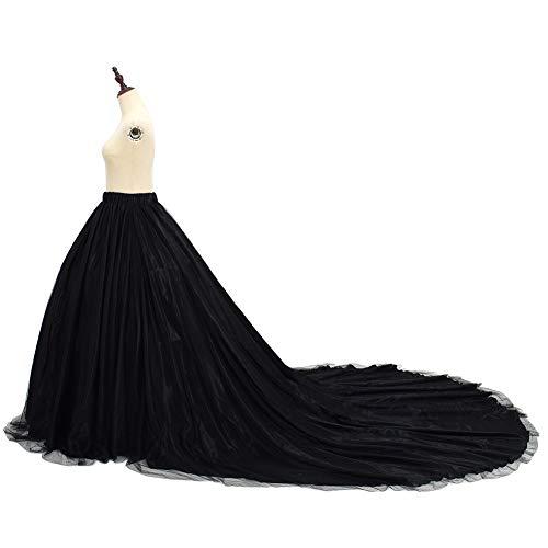 GRACEART Damen Lange Retro Maxi Tüll Rock Brautkleider Unterrock Überrock (schwarz)