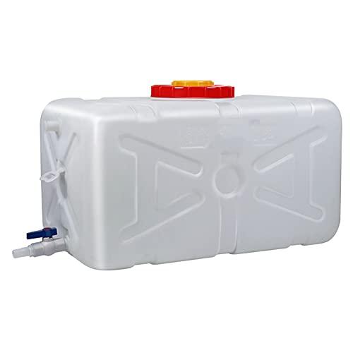 Tanque de agua cuadrado horizontal blanco de 50 litros, contenedor de agua portátil con grifo para acampar almacenamiento de agua jarra para exteriores senderismo huracán emergencia Cantina de agua