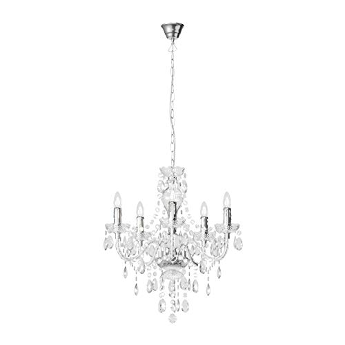 Lampadario 'Merida' dimmerabile colore Trasparente, ad es. Soggiorno & Sala da pranzo (5 luci, E14, A++) di Lindby   lampada a sospensione, sistema a sospensione, lampadario, lampada