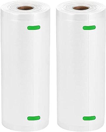 Bolsas de Vacío Profesional 2 Rolls 20x600cm para Almacenaje de Alimentos, Sous Vide Cocina, BPA Free