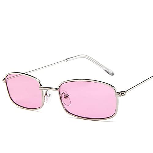 N/A Gafas de sol rectangulares pequeñas para hombres y mujeres, marco de metal Retro, amarillo, rojo, Vintage, pequeñas gafas de sol para mujer UV400