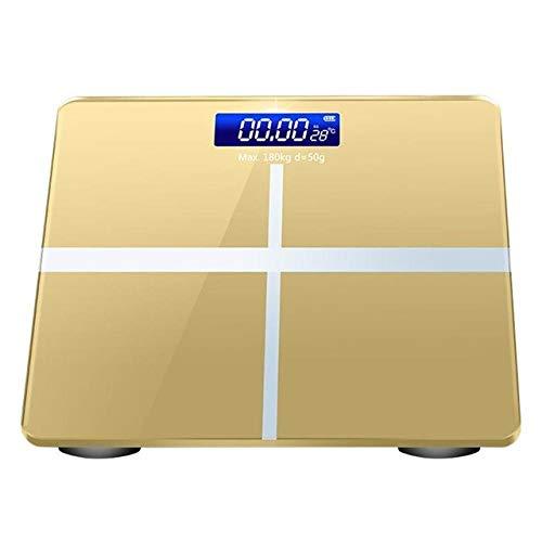ZKYXZG Personenwaage Badezimmer-Körperfett-bmi-Skala-Digital-Menschengewicht-MI-Skala-Boden-LCD-Anzeige Körper-Index-elektronische intelligente Waage, golden