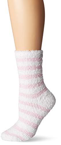 Karen Neuburger Women's Super Soft Cozy Fluffy Warm Lounge Chenille Sock, Pink/White Stripe, One Size fits All