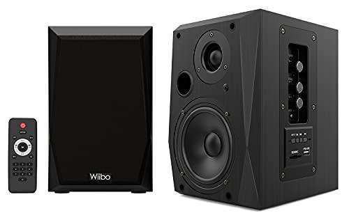 WIIBO- Neo 50 - Altavoces Bluetooth Portátiles - Altavoces Inteligentes HiFi - Altavoces Estantería - Potencia 50W - 145 mm x 200 mm x 230 mm - Color Negro - incluye Mando a Distancia