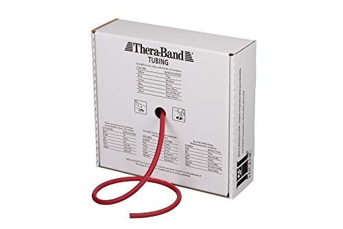 TheraBand Resistance Tubes, Professional Latex Elastic Tubing For Upper & Lower Body, Core Exercise, Physical Therapy, Lower Pilates, At-Home Workouts, & Rehab, 25 Foot, Red, Medium, Beginner Level 3