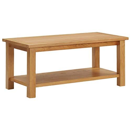 Estink Mesa de centro rectangular de madera maciza de roble con estante, 90 x 45 x 40 cm