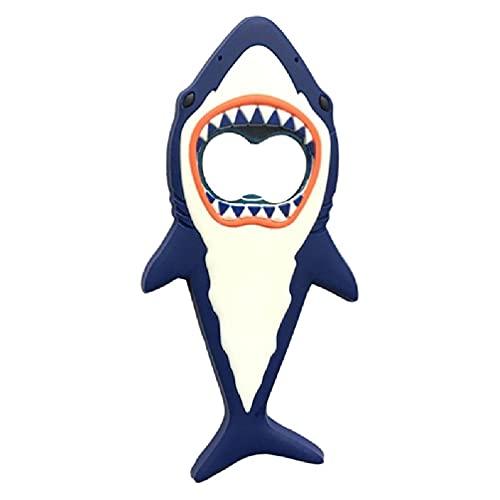 SHINAN Abrebotellas de metal de silicona magnética con forma de tiburón, antideslizante, para ahorrar trabajo, cocina, botella de vidrio
