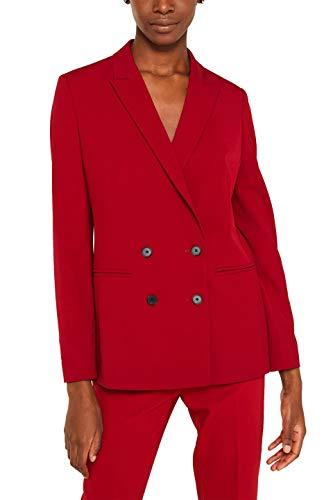 ESPRIT Collection Damen 119EO1G013 Anzugjacke, Rot (Dark Red 610), (Herstellergröße: 38)