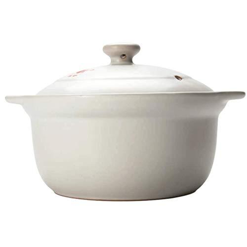 SMEJS Céramique Marmite Ronde Argile Pot d'argile Pot Vaisselle en céramique avec Couvercle Blanc résistant à la Chaleur boîte-Cadeau