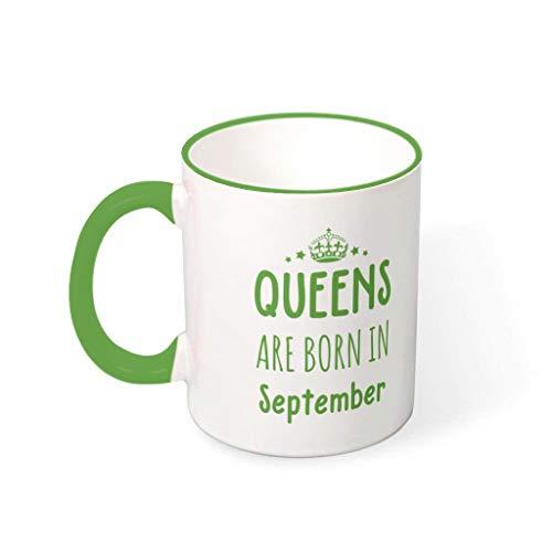 superyu Taza de regalo con texto en inglés 'Queen Are Born In September', para niño, color verde