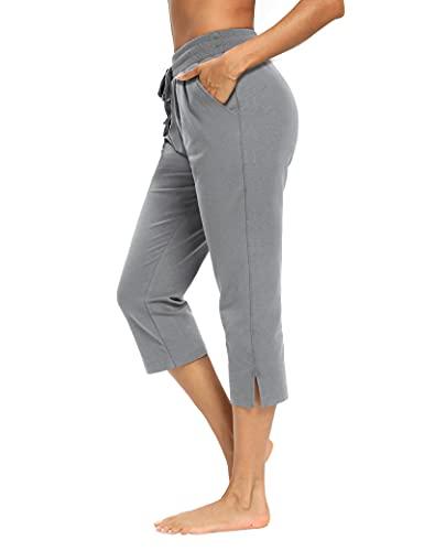 LEXISLOVE Capris for Women Casual Summer Wide Leg Crop Pants Loose Comfy Drawstring Yoga Jogger Capri Pants with Pockets Light Grey XL