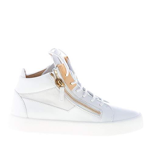 Giuseppe ZANOTTI Uomo Sneaker Alta in Pelle Bianco con Doppia Zip Oro Color Bianco Size 41.5