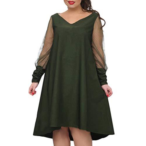 EuCoo Vestido de encaje suelto de manga larga con cuello en V para mujer