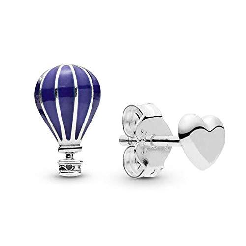 LILANG Pandora 925 Jewelry Bracelet Globo de Aire de Plata esterlina auténtica Natural y corazón Pendientes de botón de Europa para Abalorios de Moda Adecuado para Mujeres Regalo de Bricolaje