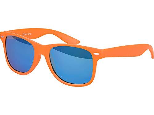 Balinco Hochwertige Nerd Sonnenbrille Rubber im Retro Stil Vintage Unisex Brille mit Federscharnier - 96 verschiedene Farben/Modelle wählbar (Orange - Blau verspiegelt)