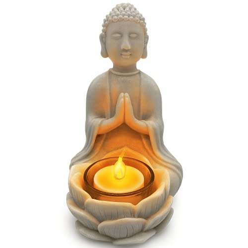 OakiWay Meditation Decor - Buddha Statue & Lotus Flower Candle Holder W/ Flickering Led Candle - Spiritual Decor, Zen/Yoga Accessories, Feng Shui/Spa/Japanese/Boho Decor, Relaxing Gifts for Women