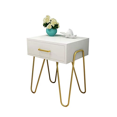 NYKK End Tables Modern and Stylish Side Table with Drawer Bedside Table with Metal Support (white) Tables/Coffee Tables