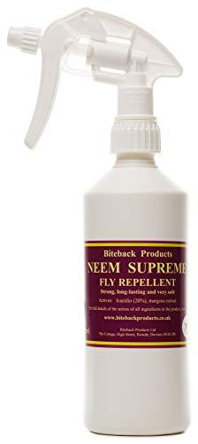 Spray de 500ml repelente de moscas y mosquitos 'Neem Supreme' ™ de Biteback Products, resistente y de larga duración
