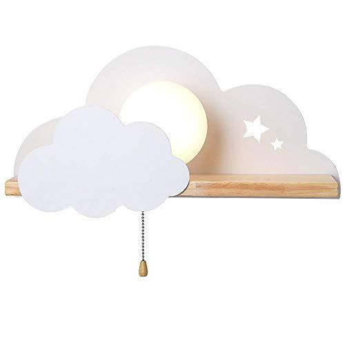 Luces de pared LED para interiores en la nube con interruptor de tiro, luces de neón Señales de nube E27 Luz de pared Decoración de habitación Luces de noche, Sala de estar Decoración del hogar Apliq