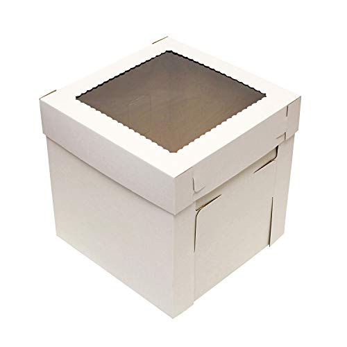 Spec101 Cake Boxes with Window 25pk 10 x 10 x 8in White Bakery Boxes, Disposable Cake Containers, Dessert Boxes