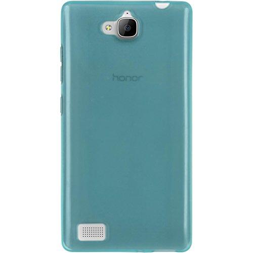PhoneNatic Case kompatibel mit Huawei Honor 3C - türkis Silikon Hülle transparent + 2 Schutzfolien - 3