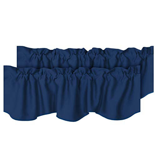 """H.VERSAILTEX 2 Panels Blackout Curtain Valances for Kitchen Windows/Living Room/Bathroom Privacy Protection Rod Pocket Decoration Scalloped Winow Valance Curtains, 52"""" W x 18"""" L, Navy"""