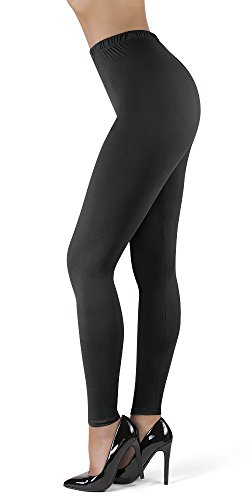 "SATINA High Waisted Ultra Soft Full Length Leggings | 1"" Waistband | 22 Colors | (OS, Black)"